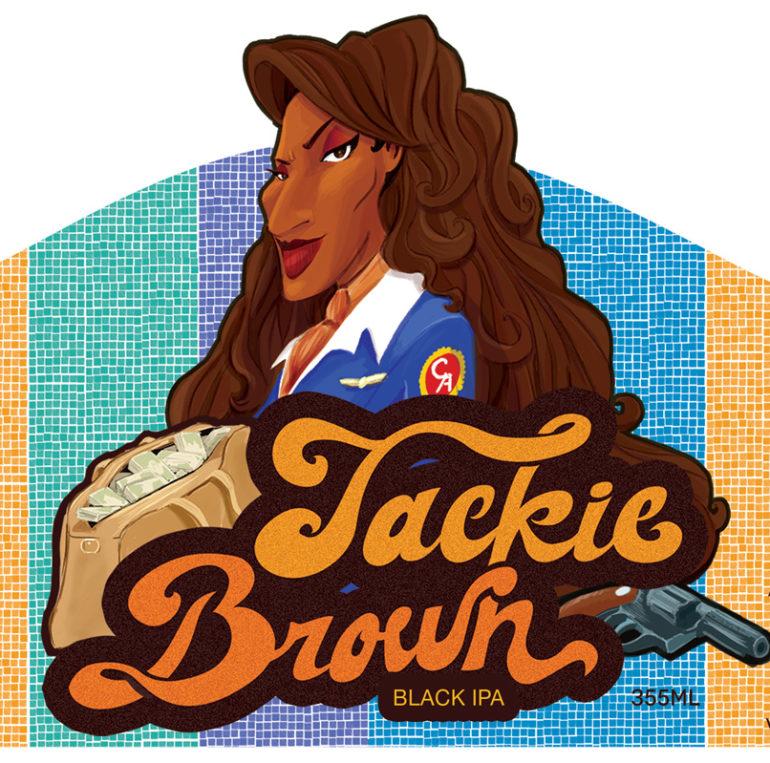 Ilustração da personagem Jackie Brown para rótulo de cerveja homônima